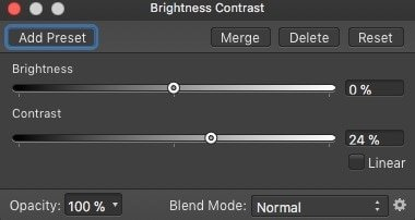 Setting the brightness contrast adjustments in affinity photo