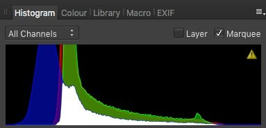 histogram showing midtones being selected