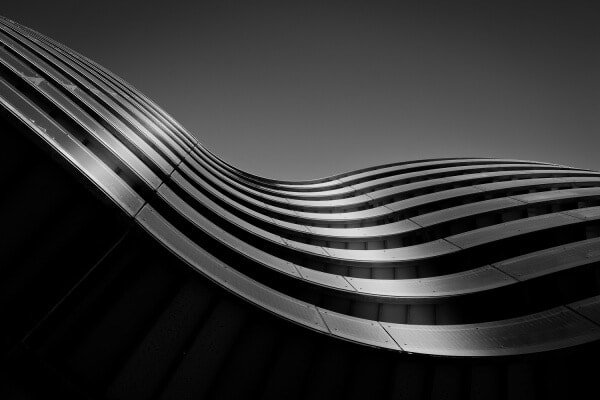 Gemini Residence from the Southern Harbour of Copenhagen, Denmark. Black and white photography