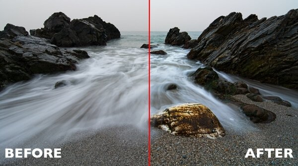 Rocks at Maro before and after Photoshop actions are applied