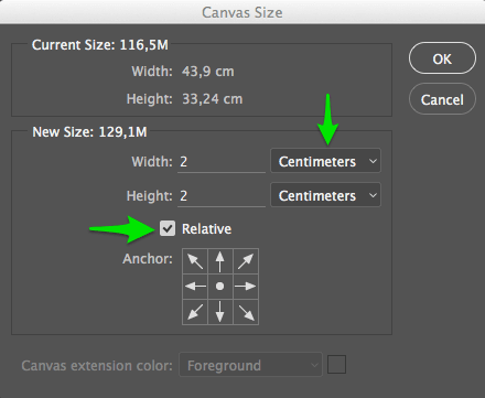 Add border to photo by expanding the canvas size