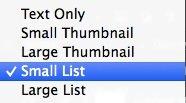 Options menu Small list