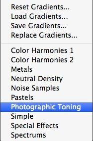 Options menu select Photographic toning