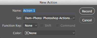 New Action Dialog in Photoshop CC