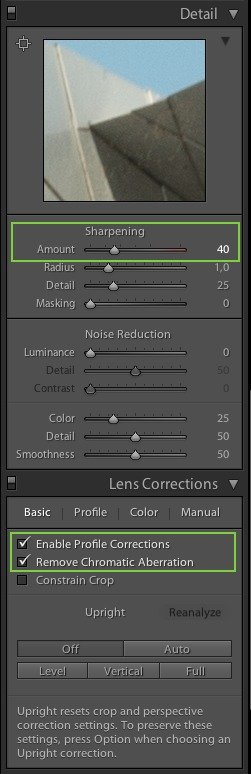 Presets - Details and Lens Correction Panels