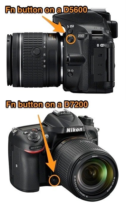 Fn button placement on D5600 and D7200 DSLR camera from Nikon