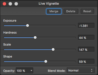 Live Vignette Options - in Affinity Photo