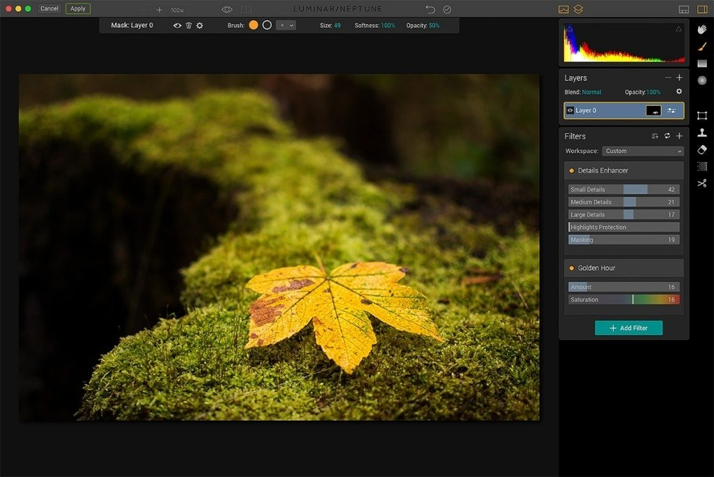 Luminar user interface