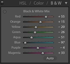 Black and white mix panel settings in Lightroom