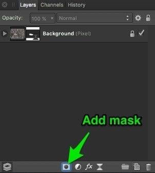 Add mask layer button in Affinity Photo
