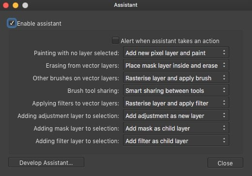 Affinity Photo assistant options