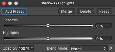 affinity photo shadows and highlights adjustment layer