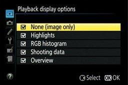 nikon dslr playback display options