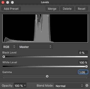 Levels adjustment layer in Affinity Photo