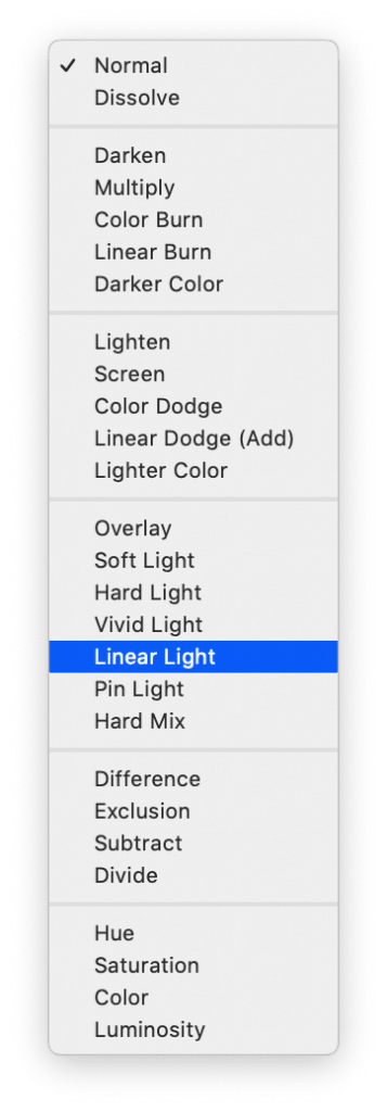 Linear light blending mode for the High layer