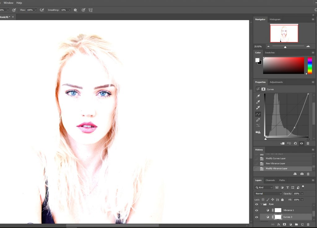 Brighten up the image and eyes to make colors pop in Photoshop