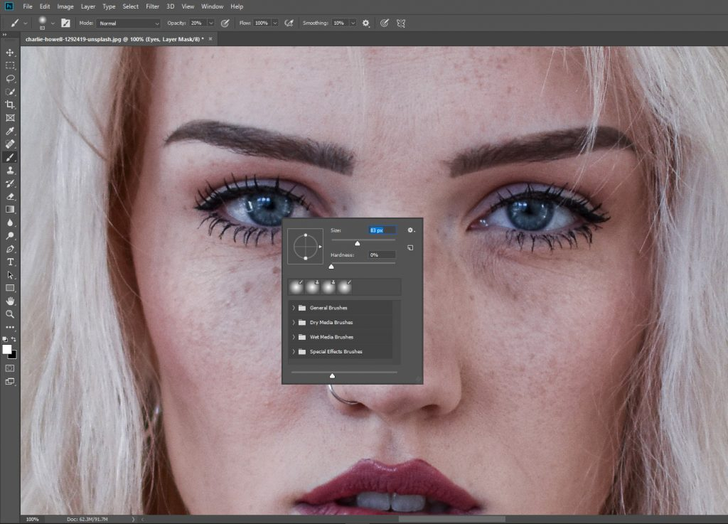 Editing eyes in portraits for stunning results.