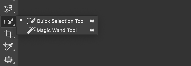 Quick Selection tool menu in Photoshop