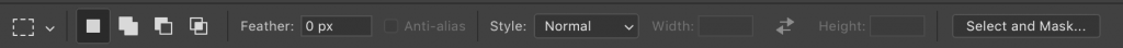 The selection options bar in Photoshop.