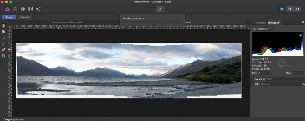Panorama stitching in Affinity Photo