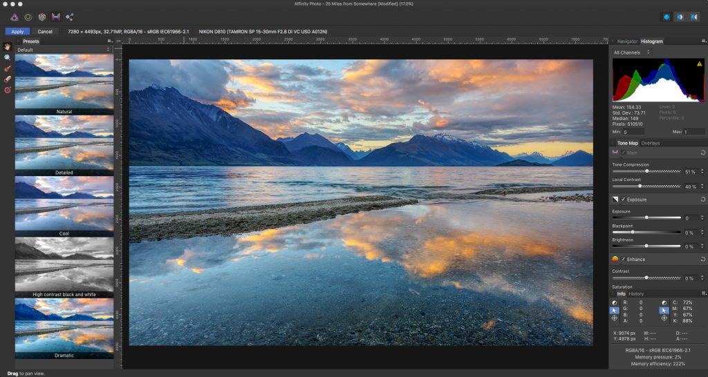 Review of Affinity Photo - Tone Mapping Persona