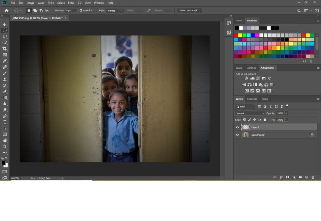Use selection tools to create a photoshop vignette