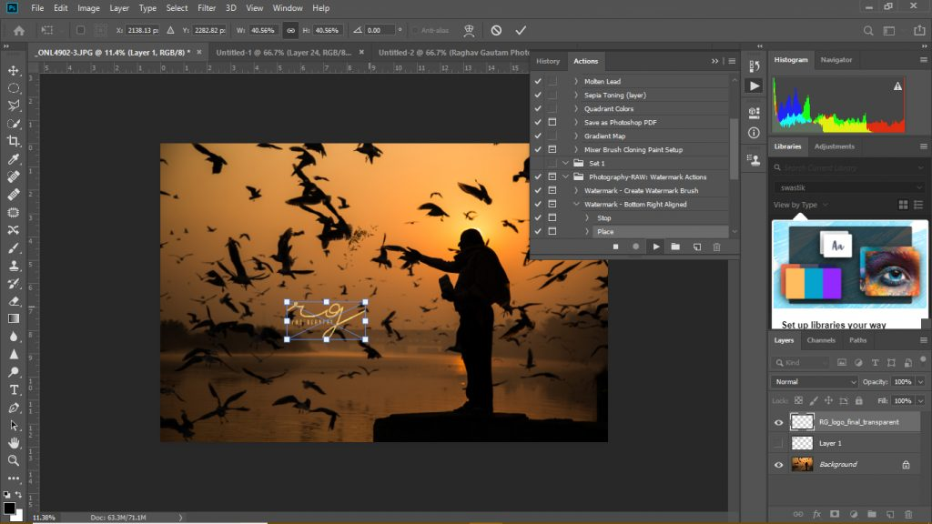 select the logo file for the watermark photoshop action