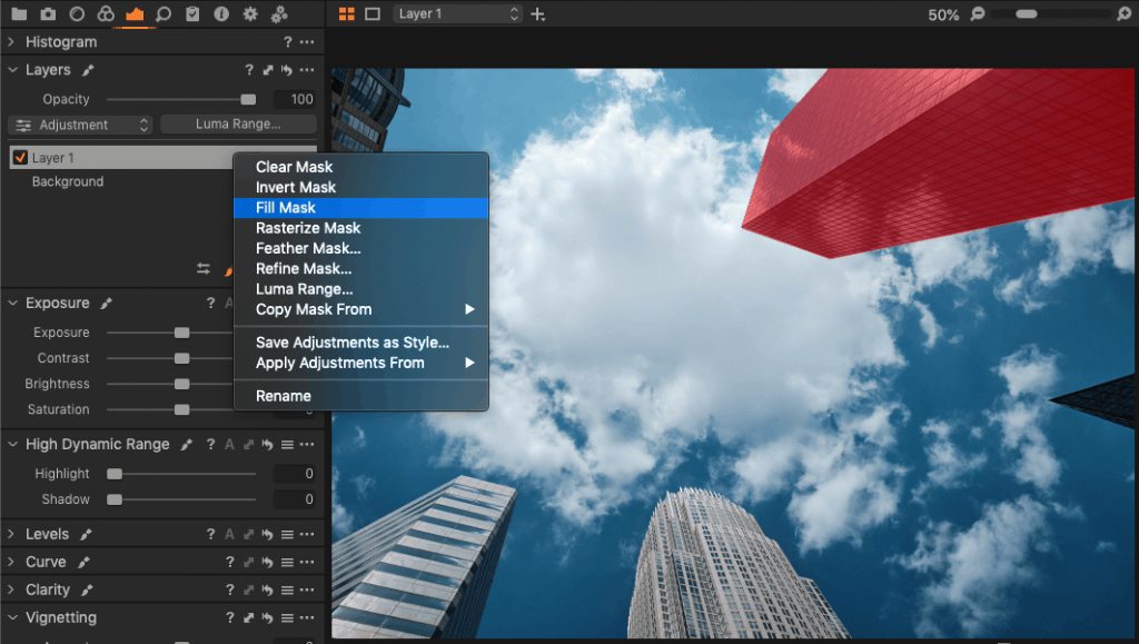 Using fill mask in Capture One