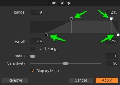 luma range capture one dialog