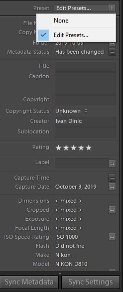 Lightroom metadata presets