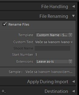 file renaming presets in Lightroom