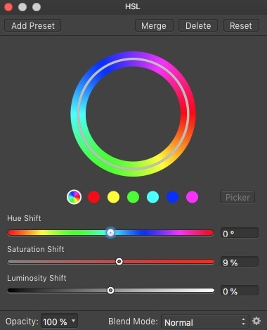 Affinity Photo HSL adjustment layer