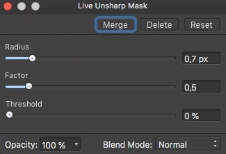 Affinity Photo Live Unsharpen Mask