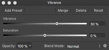 Affinity Photo Vibrance Adjustment Layer