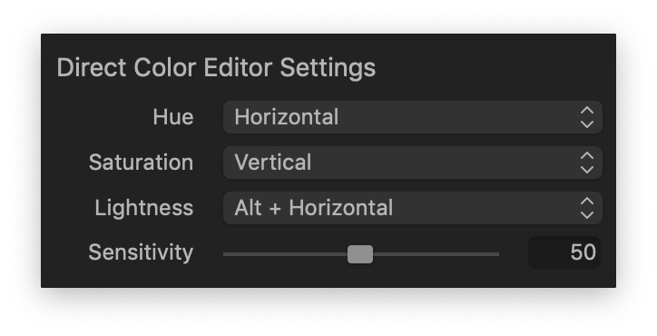 Direct Color Editor Settings dialog box