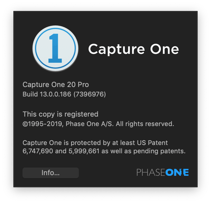 Capture One 20, but build number is 13