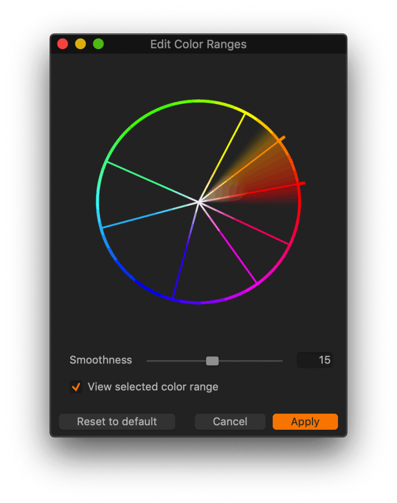 "Edit Color Ranges tool / the ""old"" Basic Color Editor in Capture One 20"
