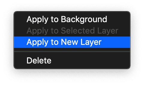 "Capture One ""Apply to New Layer"" menu option in Styles Tool"