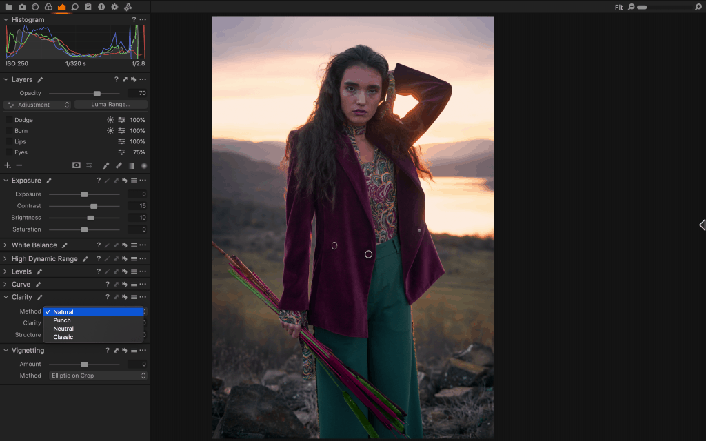 Capture One UI Screenshot of the Clarity Tool