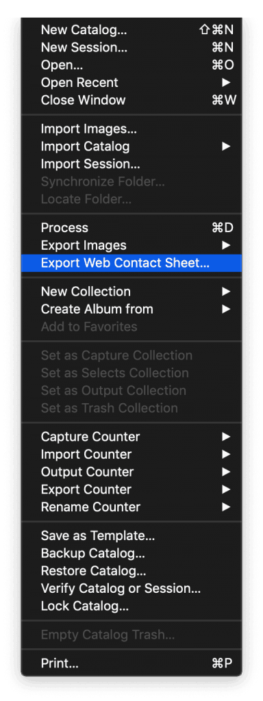 Capture One UI screenshot of Files menu