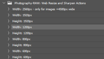 Resize and sharpening Photoshop actions by Photography Raw.