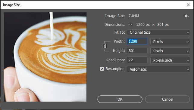 The second step in the Photoshop action that resize your image