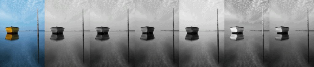 standard convertion of an image to black and white in Lightroom using different color filters.