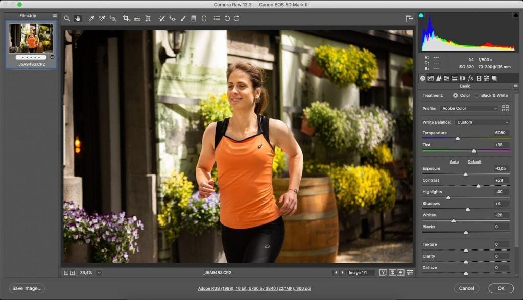 Photoshop color grading warm look in Adobe Camera Raw (ACR)