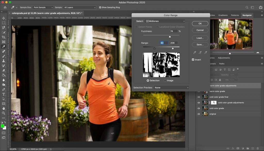 Use color range tool to selectively target the color grading in Photoshop