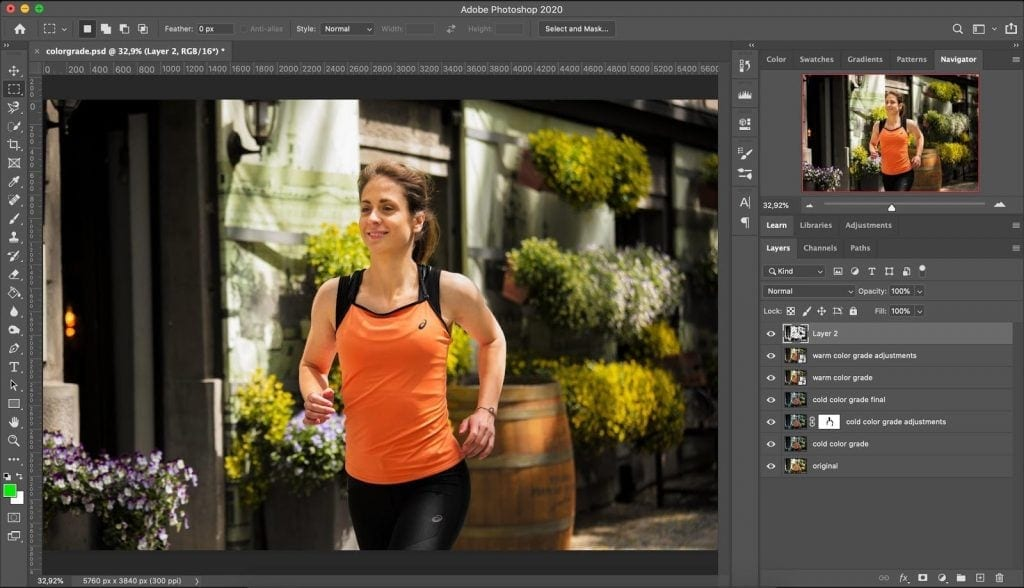 Warm look color grading in Photoshop