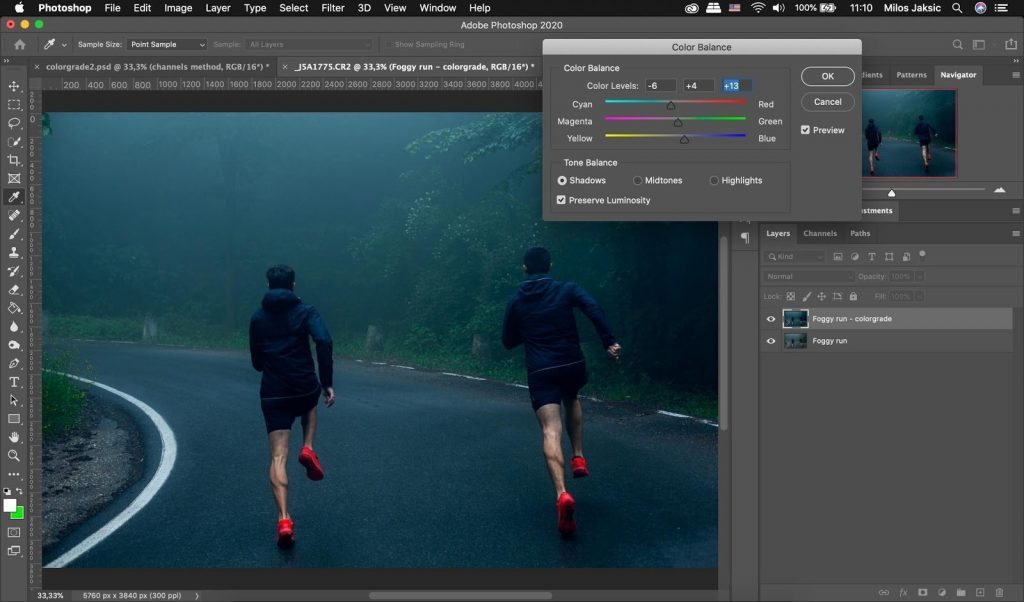 Use color balance tool for color grading in Photoshop