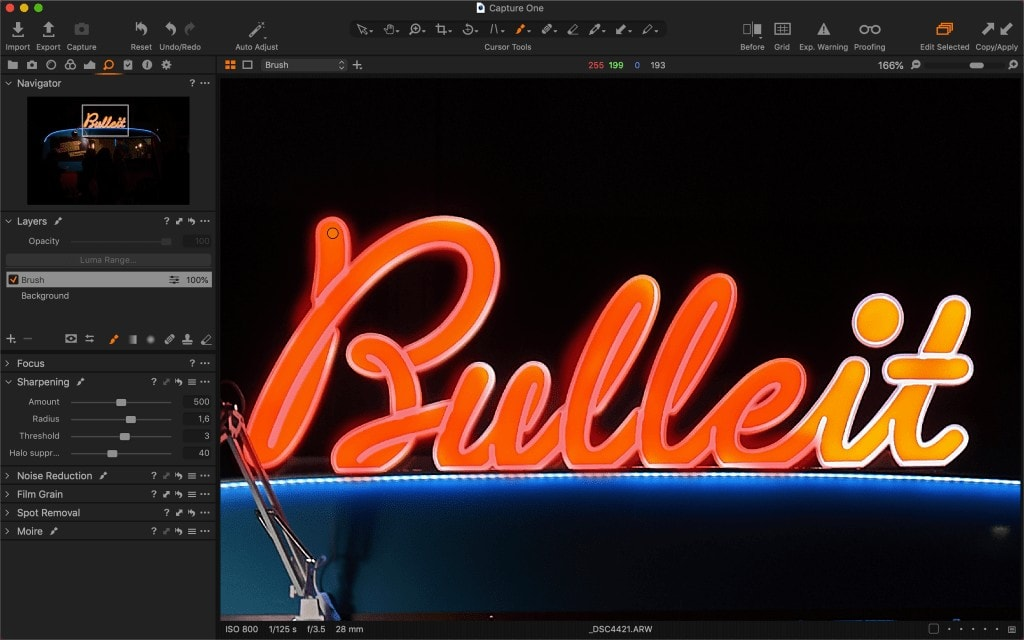 The brush tool is often the most precise way to control local or creative sharpening in Capture One.