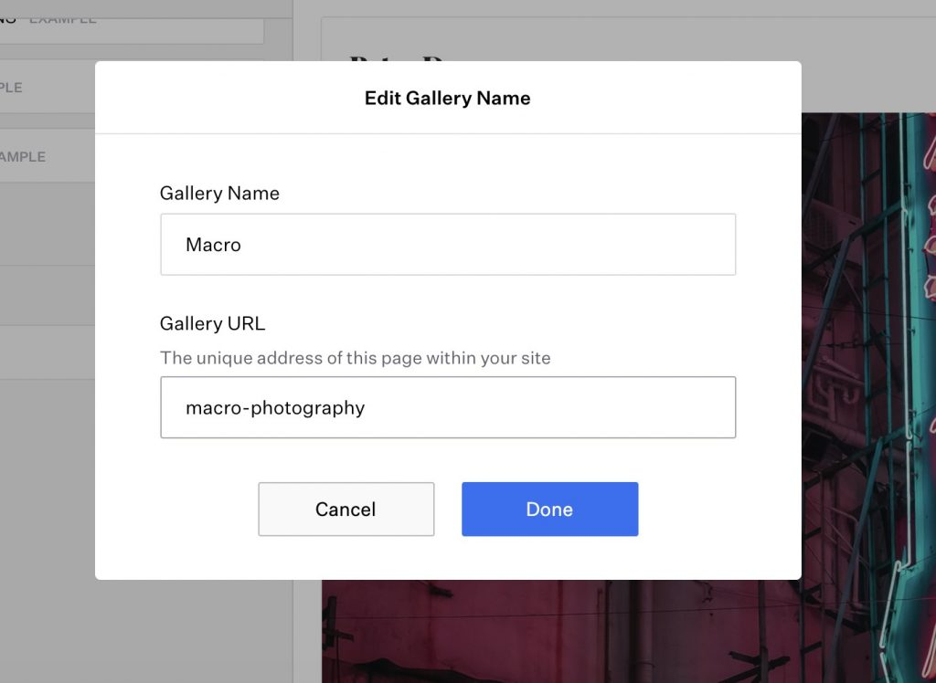 create different galleries for your online portfolio