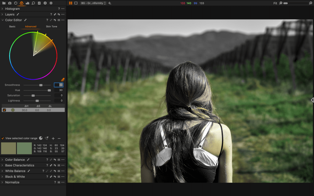 separating colors while color grading in capture one